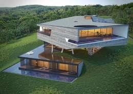 Архитектура виллы с учетом ландшафта местности в европейском стиле. : Дома в . Автор – A-partmentdesign studio