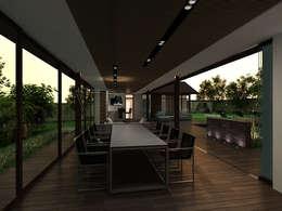 Обширное фасадное остекление террасы. Встроенные в подшивную конструкцию светодиодные светильники. Предметы мебели и декора интерьера террасы.: Tерраса в . Автор – A-partmentdesign studio