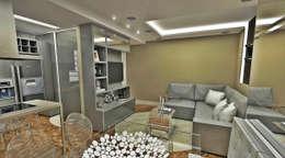 Living integrado: Salas de estar ecléticas por Atelier Par Deux