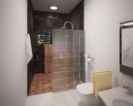 Banheiros modernos por ANGOLO-grado arquitectónico