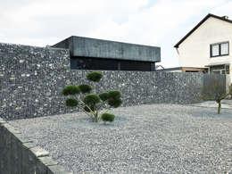 Gabione+Steingarten: moderne Garage & Schuppen von ZHAC / Zweering Helmus Architektur+Consulting