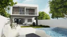 Fachada posterior: Albercas de estilo minimalista por Diez y Nueve Grados Arquitectos