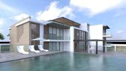 Fachad principal - Vista desde la piscina: Casas de estilo moderno por Area5 arquitectura SAS
