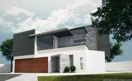 Fachada principal:  de estilo  por Diez y Nueve Grados Arquitectos