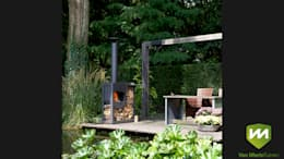 Luxe boerderijtuin met zwembad en vijver: landelijke Tuin door Van Mierlo Tuinen | Exclusieve Tuinontwerpen