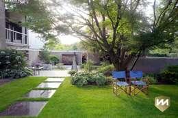 Mooie eigentijdse tuin met zwembad