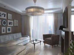 """Квартира """"Английский стиль"""" 72 кв.м: Гостиная в . Автор – A R C H I T I Z M"""