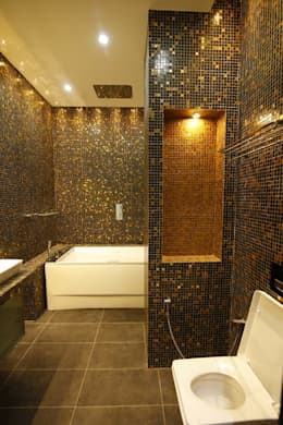 Residential interiors for Mr.Siraj at Chennai: minimalistic Bathroom by Offcentered Architects