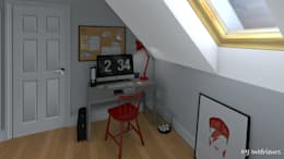 Un studio sous les toits: Bureau de style de style Moderne par MJ Intérieurs