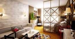 Современный шик арт-деко: Гостиная в . Автор – Design studio broliaishaunuoliai