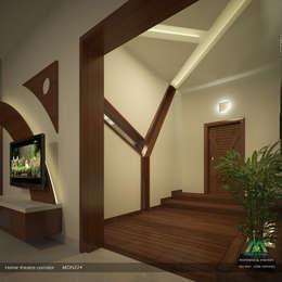 Home Theatre Corridor:  Corridor & hallway by Premdas Krishna