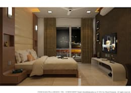PIROZE PALACE SAMPLE FLAT: modern Bedroom by HK ARCHITECTS