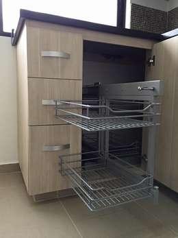 Detalle de herrajes de cocina: Cocinas de estilo moderno por ALSE Taller de Arquitectura y Diseño
