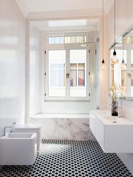 Projekty,  Łazienka zaprojektowane przez Berga&Gonzalez - arquitectura y render