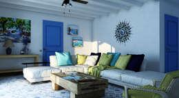 студия Design3F: akdeniz tarzı tarz Oturma Odası