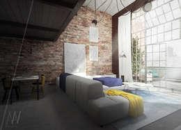 Livings de estilo industrial por AAW studio