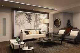 Livings de estilo asiático por Kuro Design Studio