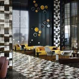 piano smoking: Pareti & Pavimenti in stile in stile Moderno di LITHOS DESIGN
