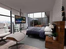 Recámara principal: Recámaras de estilo minimalista por ArtiA desarrollo, arquitectura y mobiliario.