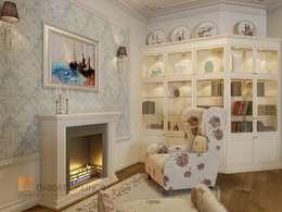 Двухуровневая квартира в неоклассическом стиле, ЖК «Жилой дом на Пионерской»: Гостиная в . Автор – Студия Павла Полынова