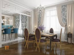 Двухуровневая квартира в неоклассическом стиле, ЖК «Жилой дом на Пионерской»: Столовые комнаты в . Автор – Студия Павла Полынова