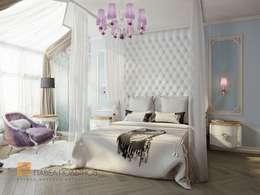 Двухуровневая квартира в неоклассическом стиле, ЖК «Жилой дом на Пионерской»: Спальни в . Автор – Студия Павла Полынова
