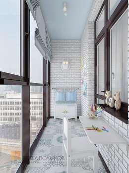 Двухуровневая квартира в неоклассическом стиле, ЖК «Жилой дом на Пионерской»: Tерраса в . Автор – Студия Павла Полынова