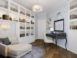 Двухуровневая квартира в неоклассическом стиле, ЖК «Жилой дом на Пионерской»: Рабочие кабинеты в . Автор – Студия Павла Полынова