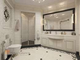 Двухуровневая квартира в неоклассическом стиле, ЖК «Жилой дом на Пионерской»: Ванные комнаты в . Автор – Студия Павла Полынова