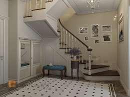 Двухуровневая квартира в неоклассическом стиле, ЖК «Жилой дом на Пионерской»: Коридор и прихожая в . Автор – Студия Павла Полынова