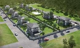 F&F mimarlik – Panorama villaları: modern tarz Bahçe