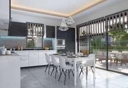 F&F mimarlik – Panorama villaları: modern tarz Mutfak