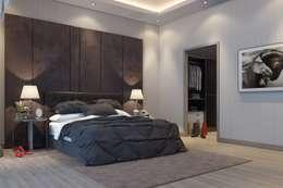 F&F mimarlik – Panorama villaları: modern tarz Yatak Odası