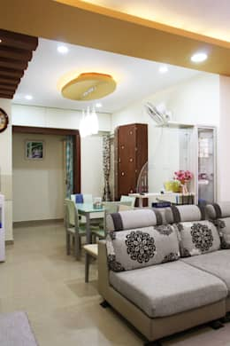3bhk apartment in Appasamy Mapleton, Pallikaranai.. : asian Living room by Ashpra Interiors