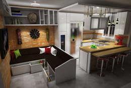 Diseño Sala-Cocina/Comedor : Salas / recibidores de estilo moderno por Rbritointeriorismo