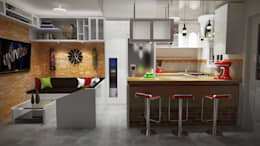 5 maneras de unir la sala con la cocina for Sala comedor kitchenette