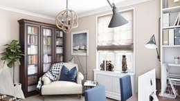 Дизайн гостиной, кабинета и гардеробной: Рабочие кабинеты в . Автор – студия визуализации и дизайна интерьера '3dm2'