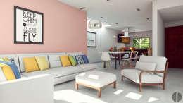 Casa Centenario: Salas de estilo minimalista por Laboratorio Mexicano de Arquitectura
