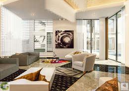 24000 sqft (2230 sqm) double Villa in Dubai: modern Living room by Aum Architects