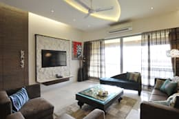 3 Bedroom Mumbai Residence: modern Living room by Aum Architects