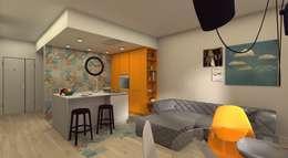 Giochiamo con il colore anche in cucina : Cucina in stile in stile Moderno di Dimore