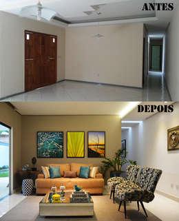 Antes e Depois Sala de Estar: Salas de estar modernas por CARDOSO CHOUZA ARQUITETOS