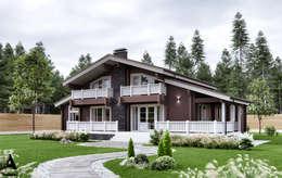 Деревянные дома в традиционных скандинавских цветах:  в . Автор – Аrchirost