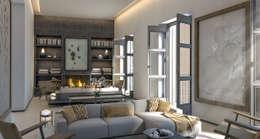 غرفة المعيشة تنفيذ 4D Studio Architects and Interior Designers
