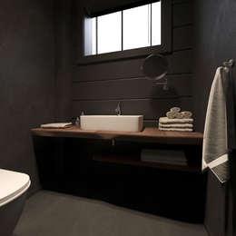 Минималистичный интерьер двухэтажного дома из клееного бруса для семейной пары: Спа в . Автор – EcoHouse Group