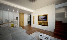 Render foto-realistico zona tv:  in stile  di QUADRASTUDIO