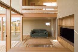 岩曽町・北庭の家: 中山大輔建築設計事務所/Nakayama Architectsが手掛けたリビングです。