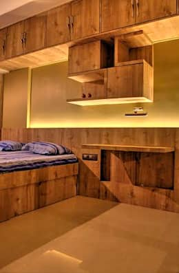 Headboard with Study Table: modern Bedroom by Olive Roof