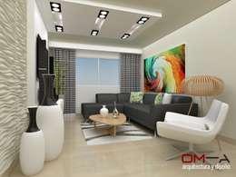 Diseño interior en apartamento, espacio sala: Salas / recibidores de estilo moderno por om-a arquitectura y diseño