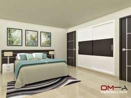 Diseño interior en apartamento, espacio dormitorio principal: Cuartos de estilo moderno por om-a arquitectura y diseño